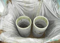 Sickerschächte zum Anschluss der Regenentwässerung der Häuser
