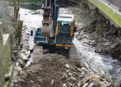 Halbseitige Schachtung der Kanalquerung